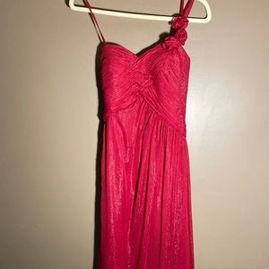 Caché red pink shimmer asymmetrical gown